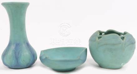 VAN BRIGGLE ART POTTERY MATTE BLUE - LOT OF 3