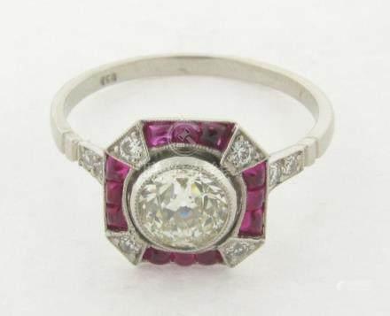 Gorgeous Vintage .85 Carat Center Diamond Rubies Art Deco De