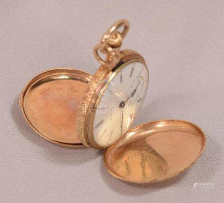 Antique Art Nouveau Elgin Ladies 14K Gold Hunting Case Penda