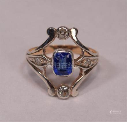 Art Deco Synthetic Sapphire 4 Diamonds 18k White and Yellow