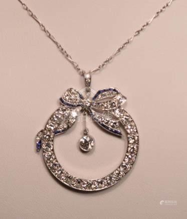 Beautiful Vintage Four Carats Diamonds Platinum Sapphires Ne