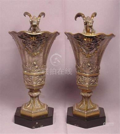 Superb Antique 2 Silvered & Gilt Bronze Griffin Ewers