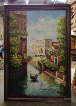 Extra Large Canoeing in Venice Oil Painting in Bronze Finish