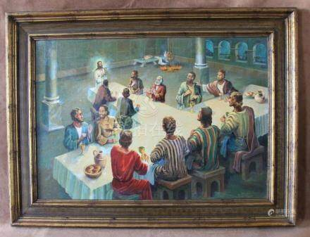 """Signed Hans Josef Zimmer """" The Last Supper """" Oil Painting W/"""