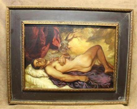 """Roy Mosier Original Oil Painting on Canvas """"Nude Man"""""""