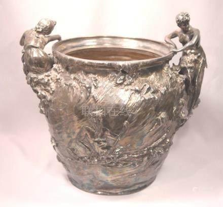 Exquisite Antique Art Nouveau Silvered Metal Mermaid Vase