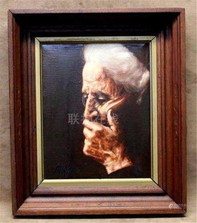 """Estate Found Vintage Realistic Oil Painting on Canvas """"Old L"""