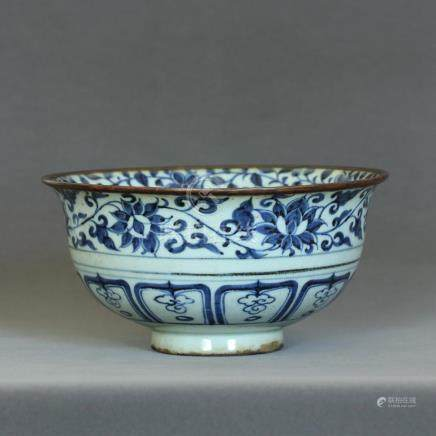 A Chinese Blue And White Large Bowl Yuan Dynasty.