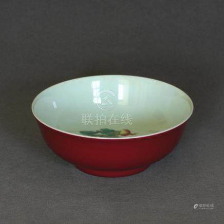 A Chinese Rouge Glaze And Famille Rose Porcelain Bowl Of Qin