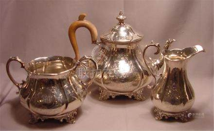 Antique Victorian Sterling Silver 3 pc Tea Set William Hunte