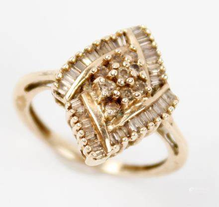 10K YELLOW GOLD CHAMPAGNE DIAMOND CLUSTER RING