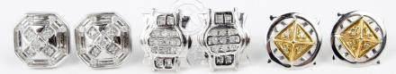 10K WHITE GOLD DIAMOND STUD EARRINGS - LOT OF 3