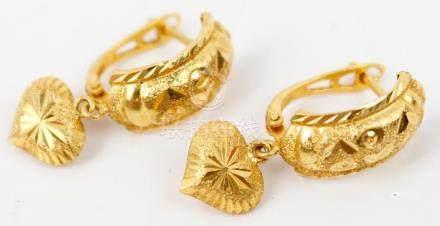 LADIES 10K YELLOW GOLD HEART EARRINGS