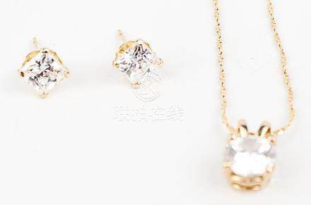 LADIES 14K YELLOW GOLD CZ EARRINGS & NECKLACE