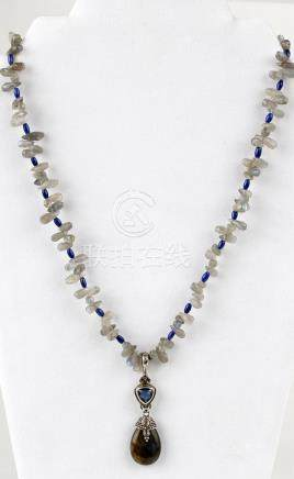 STERLING SILVER LAPIS AND LABRADORITE NECKLACE