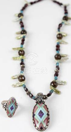 STERLING SILVER BEADED NECKLACE AND ENAMELED RING