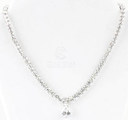 LADIES STERLING SILVER GRADUATED CZ NECKLACE