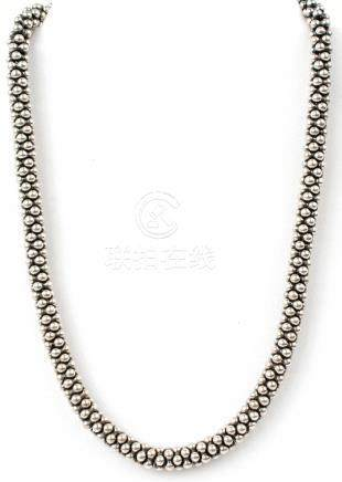 LADIES STERLING SILVER BEADED CHARM NECKLACE
