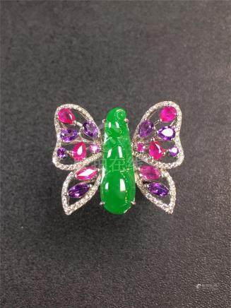 18K GOLD DIAMOND NATURAL JADEITE RUBY BUTTERFLY RING