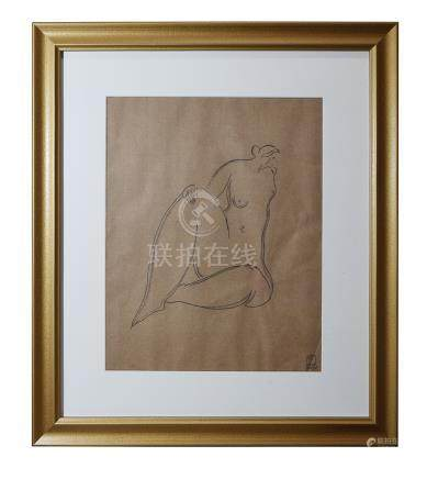 CHINESE FRAMED SKETCH DRAWING OF SEATED NUDE