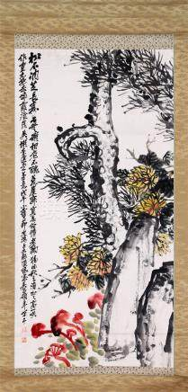 CHINESE SCROLL PAINTING OF PINE AND LINGCHI