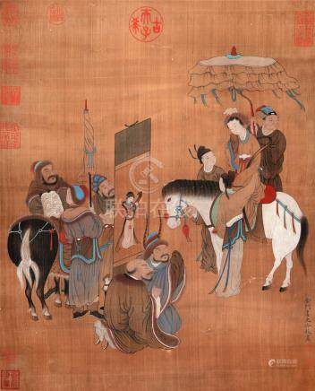 CHINESE SCROLL PAINTING OF FIGURES AND HORSE