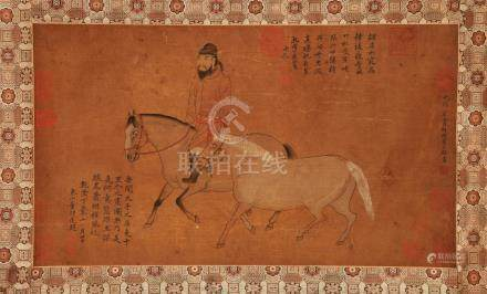 CHINESE SCROLL PAINTING OF HORSE AND MAN