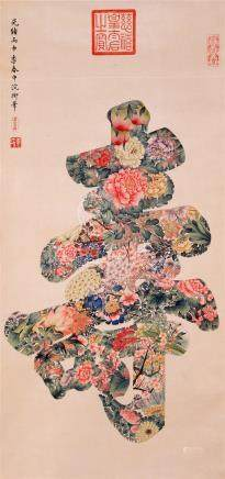 CHINESE SCROLL PAINTING OF FLOWER AND LONGIVITY