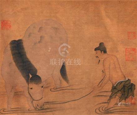 CHINESE SCROLL PAINTING OF HORSE BATHING