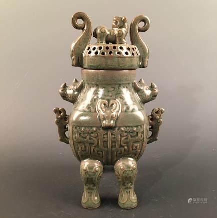 Chinese Celdon Glazed Censer