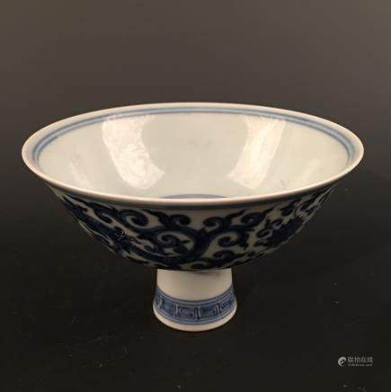 Chinese Blue-White 'Lotus' Standing Cup, Chenghua Mark