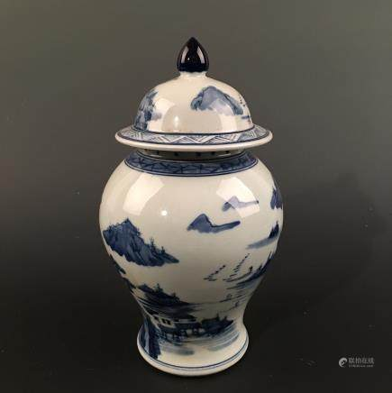 Chinese Blue-White 'Landscape' Vase and a Cover, Kangxi Mark