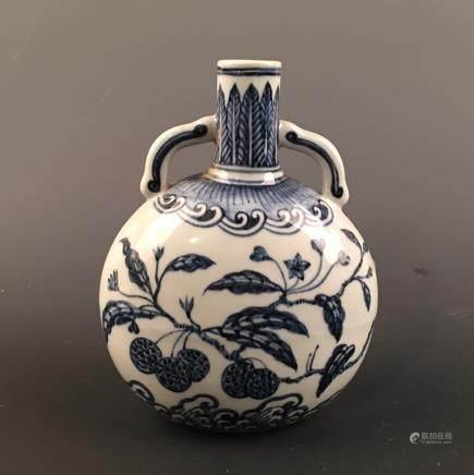 Chinese Blue-White Round Flat Vase, Xuande Mark