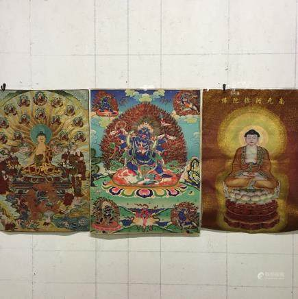 Thre Pieces of Chinese 'Buddha' Thangka