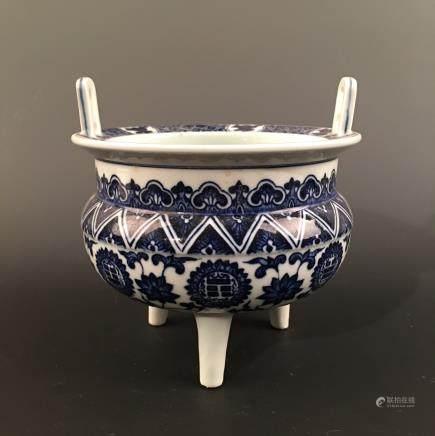 Chinese Blue-White Tripod Censer, Qianlong Mark