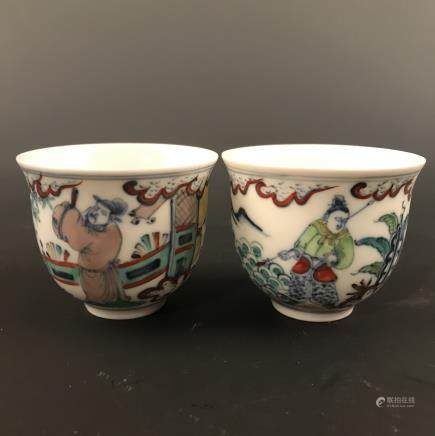 6 Pieces of Chinese Doucai 'Figure' Cup, Chenghua Mark