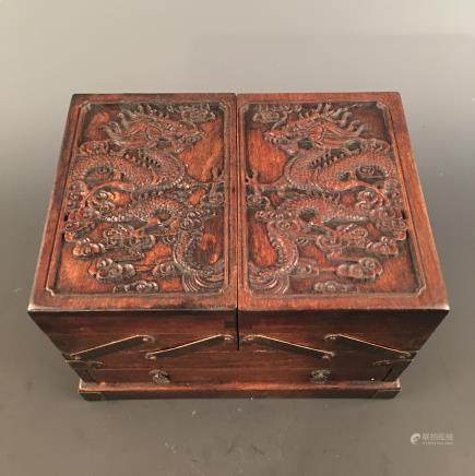 Chinese Hardwood 'Dragon' Square Box