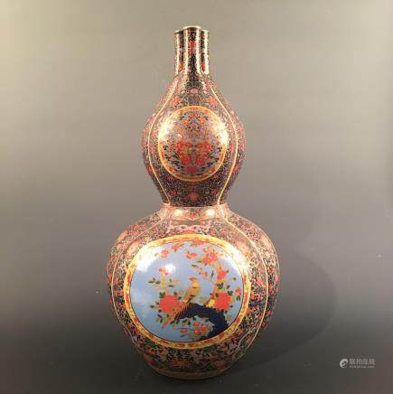 Chinese Famille Rose Double Goured Bottle