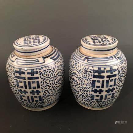 A Pair of Chinese Blue-White Jar and Cover