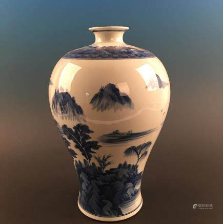 Chinese Blue-White 'Landscape' Meiping Vase