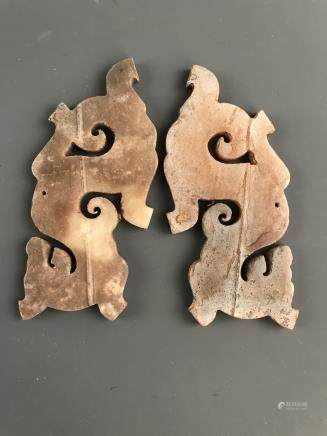 A Pair of Chinese Jade Pendant Openwork