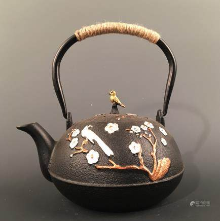 Chinese Iron 'Bird & Flower' Teapot