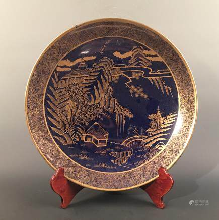 Chinese Gilt Blue-White 'Landscape' Plate