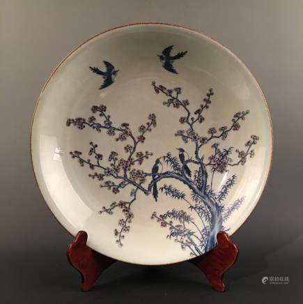 Chinese Blue-White Copper Red 'Bird & Flower' Charger