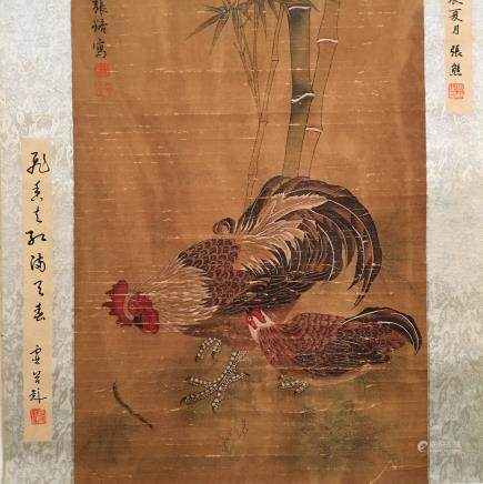 Chinese Hanging Scroll of 'Rooster' Painting