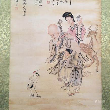 Chinese Hanging Scroll of 'Immortals' Painting, Tang Yin Signature