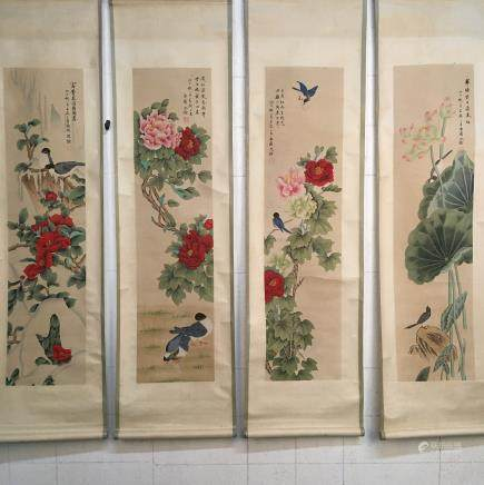 4 Pieces of Chinese Hanging Scroll of 'Birds & Flowers' Painting