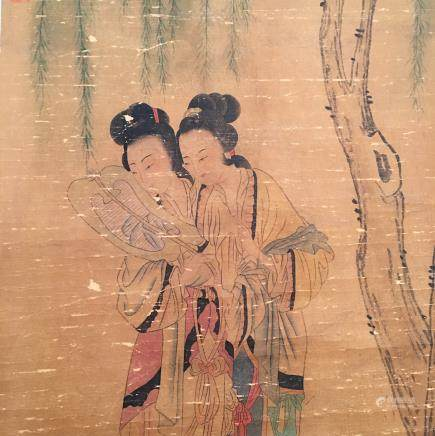 Chinese Hanging Scroll of 'Beauty', Jin Mengshi Signature