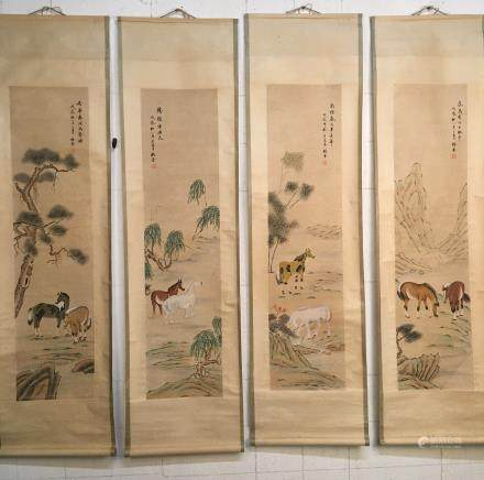 4 Pieces of Chinese Hanging Scroll of Horses, Yang Jin Signature