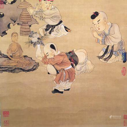 Chinese Hanging Scroll of 'Worshipping God' Painting